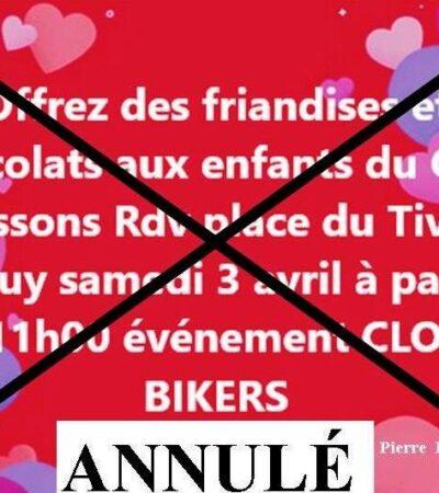 Evènement Annulé. Clovis Bikers. Offrez des friandises et Chocolats aux enfants du CHU.4 avril. Place du Tivoli.